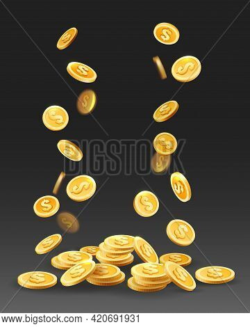 Coin Cash Prize. Gold Coins Drops, Gain Money Vector Illustration, Golden Currency Fall On Black, Bu