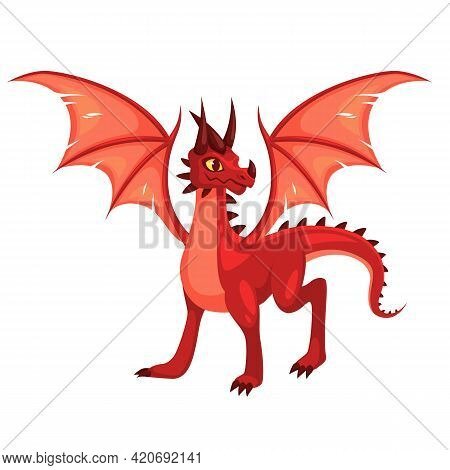Magic Dragon. Fantasy Colorful Winged Red Creature. Medieval Fairy Tail Animal, Fire-breathing Mythi