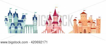 Medieval Castles. Fairy Tale Towers Collection, Bright Colorful Mansions, Fortified Fortress, Palace