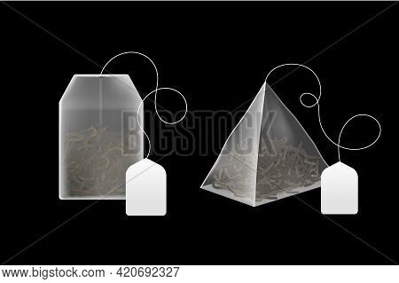 Tea Bags Realistic. 3d Disposable Beverage Infuser Bag And Pyramid Sachet With Blank Paper Label, Bl