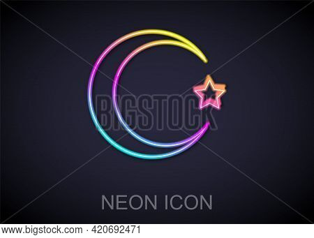 Glowing Neon Line Star And Crescent - Symbol Of Islam Icon Isolated On Black Background. Religion Sy