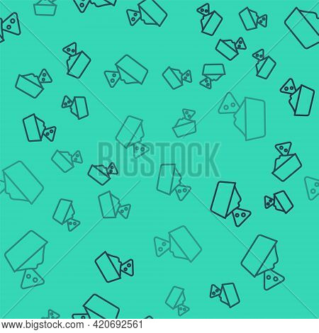 Black Line Nachos In Bowl Icon Isolated Seamless Pattern On Green Background. Tortilla Chips Or Nach