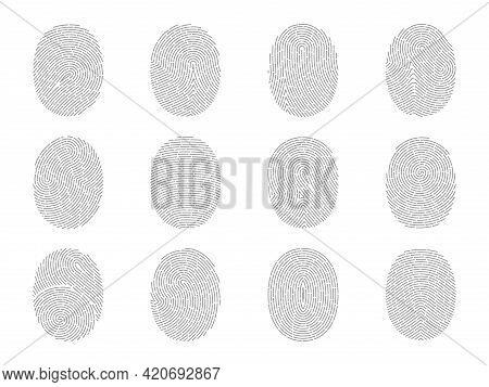 Fingerprint. Finger Marks. Thumbprints Set For Biometric Scanner. People Personality Authentication.