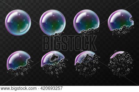 Rainbow Soap Bubbles Explosion. Realistic Break Stages, 3d Transparent Flying Balls, Time Lapse Burs
