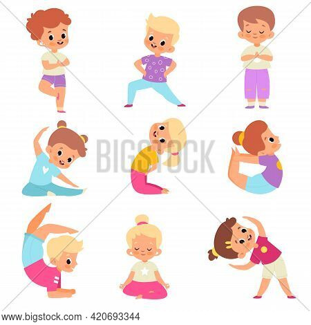 Children Yoga. Cute Kids Yoga Poses Collection, Happy Flexible Boys And Girls In Lotus Meditation Po