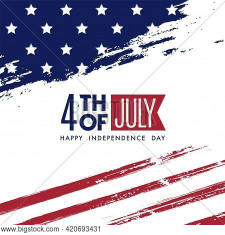 American National Holiday. 4th Of July Us Flag With American Stars, Stripes And National Colors On I