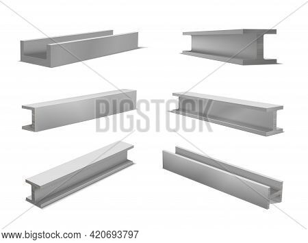 Collection Realistic Construction Metal Beams Vector Illustration Isometric Style Metallic Profile