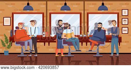 Barber Shop Interior. Gentlemans In Hair Salon Interior, Mirrors Reflections, Beard And Hair Care, B