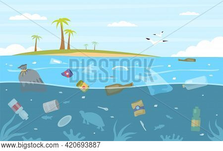 Sea Garbage. Plastic Trash Floating In Water. Seascape With Polluted Ocean And Tropical Island. Ecos