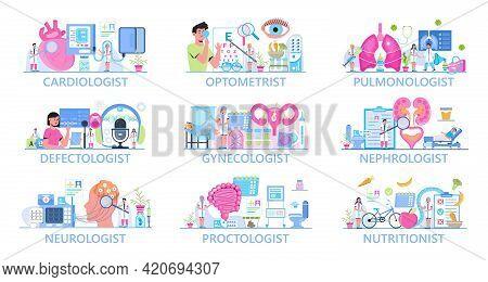 Cardiologist, Ophthalmologist, Pulmonologist, Defectologist, Vector Template Set