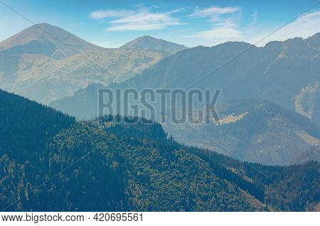Rocky Ridge Of High Tatra Mountains. Beautiful Nature Background In Evening Light