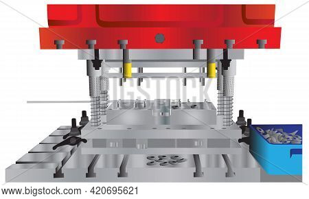 Hydraulic Press Stamping Machine And Fixture Making Rings Illustration. Vector Of Industrial Metalwo