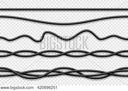 Flexible Cables Collection. Black Electrical Wire. Realistic Power Or Network Cable. Vector Illustra