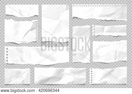 Ripped Paper Strips Isolated On Transparent Background. Realistic Crumpled Paper Scraps With Torn Ed