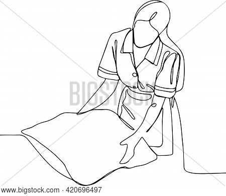 Woman Putting Stack Of Fresh White Bath Clean Towels On Bed Sheet Space Close Up Hands Of Hotel Maid