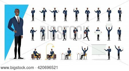 Successful Black Colored Businessman In Blue Suit Showing Gestures And Emotions In Different Poses.