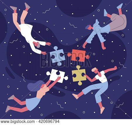 Teamwork Puzzle Collecting. Coworking Team With Abstract Puzzle Elements Vector Background Illustrat