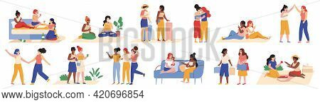Female Friendship. Happy Girlfriends Activities, Shopping, Travelling And Chatting Isolated Vector I