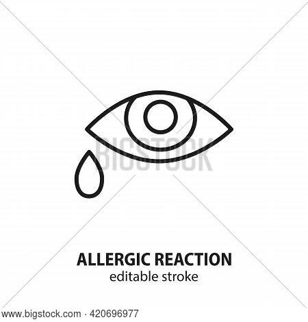 Allergic Reaction Line Icon. Sadness Vector Symbol. Editable Stroke.