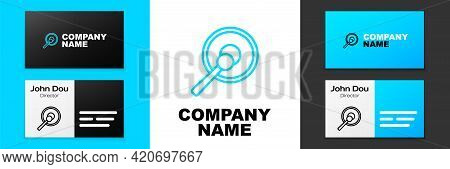 Blue Line Gong Musical Percussion Instrument Circular Metal Disc And Hammer Icon Isolated On White B