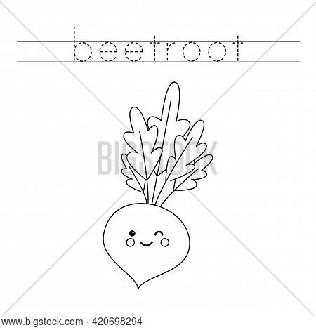 Trace The Word. Cute Beetroot. Handwriting Practice For Preschool Kids.