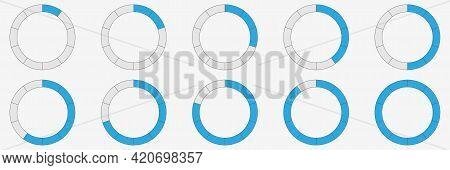 Progress Bar In Circle. Round Loading Indicator. Bar Counter. Status Symbol. Download And Upload Sta
