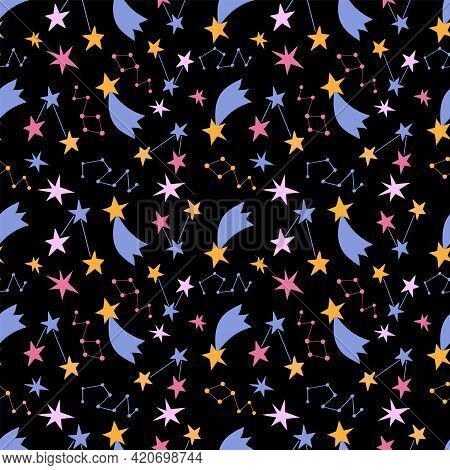 Seamless Pattern With Cute Colorful Stars. Black Background, Vector Graphics. For Wrapping Paper, Te