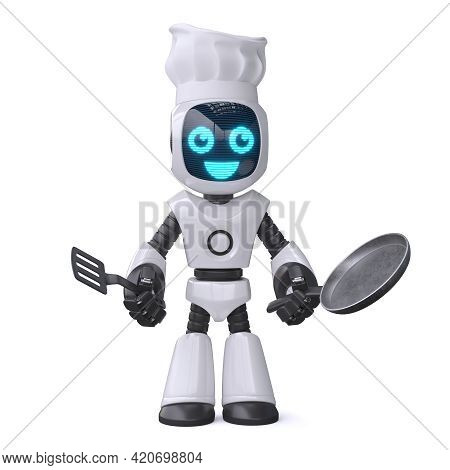 Little Robot Cook Holding Cooking Pan, Chef Robot 3d Rendering