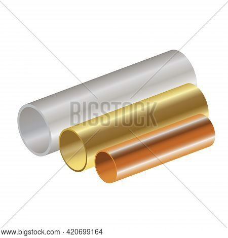 Stainless Steel Copper And Brass Pipes On White Background For Business Industry Creative Design