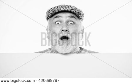 Event Announcement. Pensioner Grandfather In Vintage Hat Poster Information Copy Space. Elderly Pers