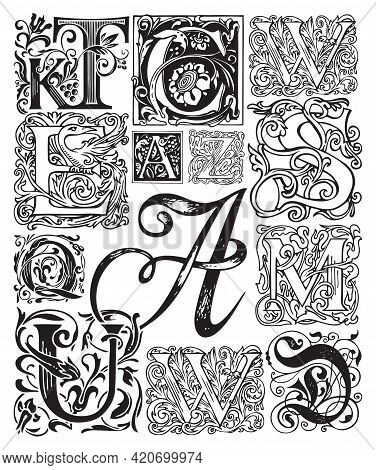 Black And White Vector Set Of Ornate Initial Letters. Ornamental Capital Letters With Vintage Baroqu