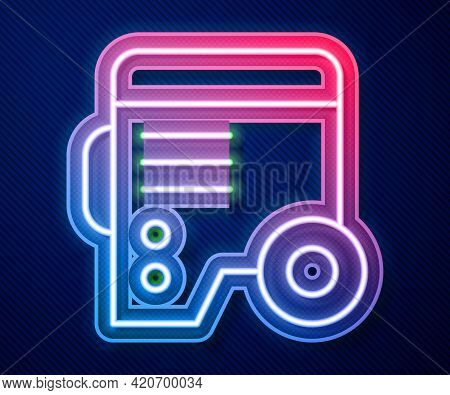 Glowing Neon Line Portable Power Electric Generator Icon Isolated On Blue Background. Industrial And