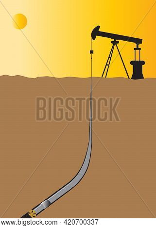 Oil Rig Industry Oil Pump Vector In Middle East