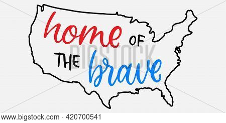 Memorial Day In Usa. Memorial Day In Lettering. Usa Map Outline. Veterans Day Holiday Calligraphy. A