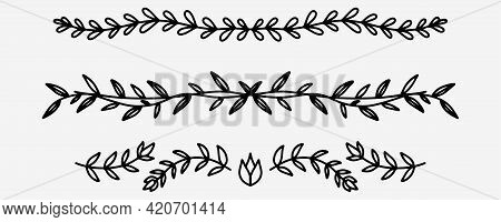 Hand Drawn Dividers Collection. Decorative Art Dividers In Doodle Style. Swirl Art Lines In Vector.