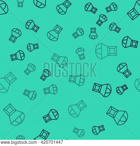 Black Line Box Flying On Parachute Icon Isolated Seamless Pattern On Green Background. Parcel With P