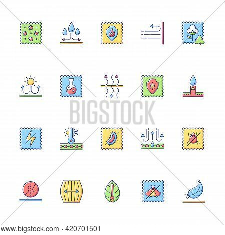 Different Types Of Fabric Feature Vector Flat Color Icon Set. Fiber Characteristics. Quality Feature