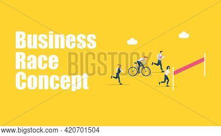 Finish Line. Businessman, Winner Tearing The Finishing Line. Business Concept, Teamwork For Business