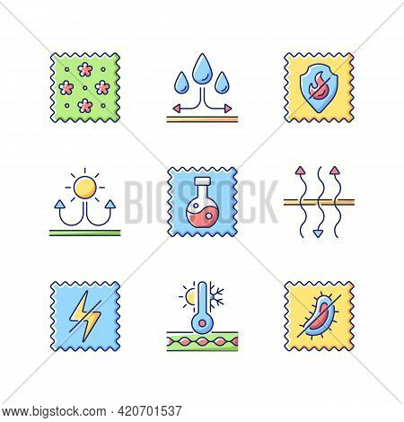 Different Types Of Fabric Vector Flat Color Icon Set. Print Textile. Synthetic, Antistatic And Antim