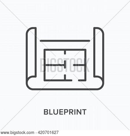 Blueprint Flat Line Icon. Vector Outline Illustration Of Paper Plan. Black Thin Linear Pictogram For