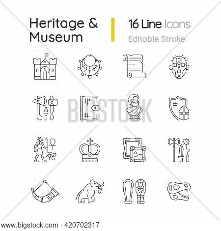 Heritage And Museum Linear Icons Set. Medieval Times. Excavated Treasure. Middle Ages. Historic Buil