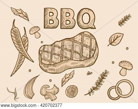 Barbecue Set. Sketch Scratch Board Imitation Sepia.