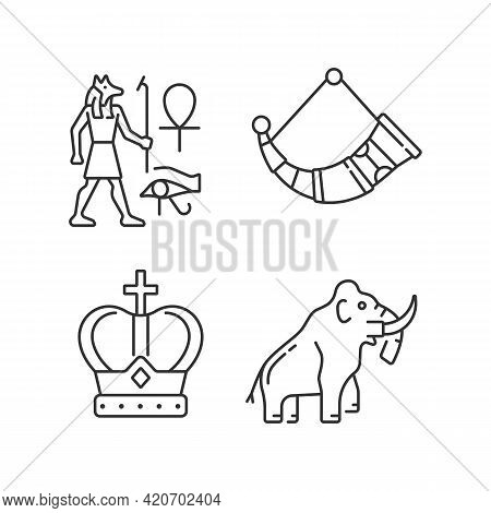 Ancestors Heritage Linear Icons Set. Egyptian Wall Drawings. Drinking Horns. Royal Crown. Mammoth. C