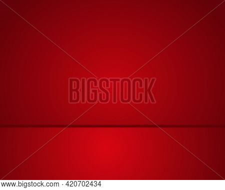 Red Room And Red Floor. Red Empty Background With Gradient Effect