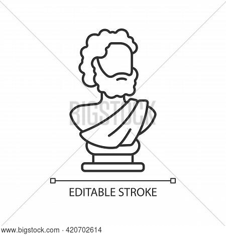 Ancient Statue Linear Icon. Art History. Ancient Greek Sculpture. Sculpted Philosopher Bust. Thin Li