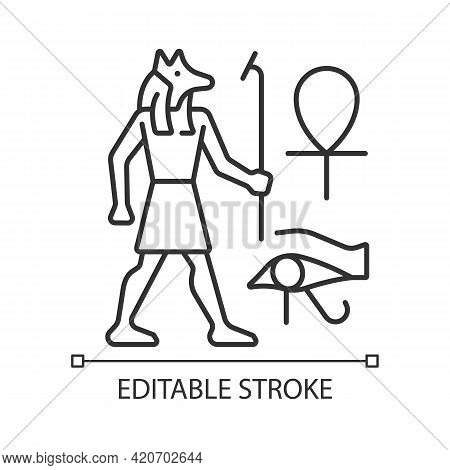 Egyptian Wall Drawings Linear Icon. Mural Painting. Walls Decoration With Reliefs. Thin Line Customi