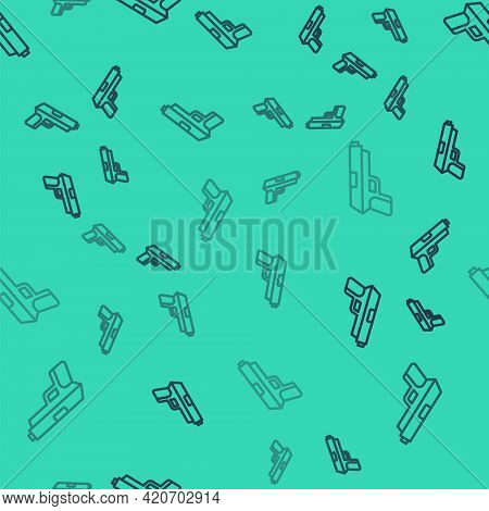 Black Line Pistol Or Gun Icon Isolated Seamless Pattern On Green Background. Police Or Military Hand