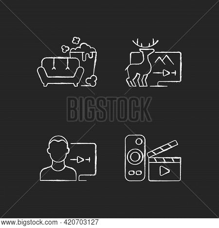 Broadcasting Services Chalk White Icons Set On Black Background. Tv Series, Documentaries, Movies St