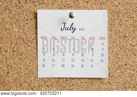Page From Calendar For Full Month: June 2021. White Sheet With Dates Is Pinned To Cork Board. Concep