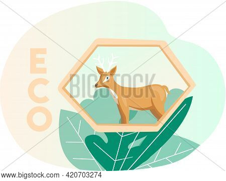 Eco Friendly, Nature Conservation, Environmental Protection. Deer On Abstract Background With Leaves